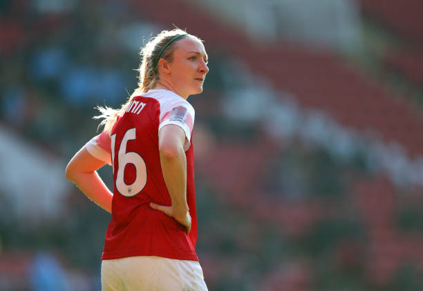 SHEFFIELD, ENGLAND - FEBRUARY 23: Louise Quinn of Arsenal during the FA Women's Continental League Cup Final between Arsenal Women and Manchester City Women at Bramall Lane on February 23, 2019 in Sheffield, England. (Photo by Catherine Ivill/Getty Images)