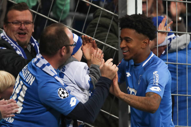 SINSHEIM, GERMANY - NOVEMBER 10: Reiss Nelson of TSG 1899 Hoffenheim celebrates after scoring his team`s second goal during the Bundesliga match between TSG 1899 Hoffenheim and FC Augsburg at Wirsol Rhein-Neckar-Arena on November 10, 2018 in Sinsheim, Germany. (Photo by Christian Kaspar-Bartke/Bongarts/Getty Images)