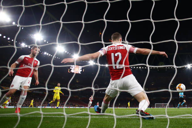 LONDON, ENGLAND - FEBRUARY 21: Stephan Lichtsteiner of Arsenal saves the ball on the line during the UEFA Europa League Round of 32 Second Leg match between Arsenal and BATE Borisov at Emirates Stadium on February 21, 2019 in London, United Kingdom. (Photo by Clive Rose/Getty Images)