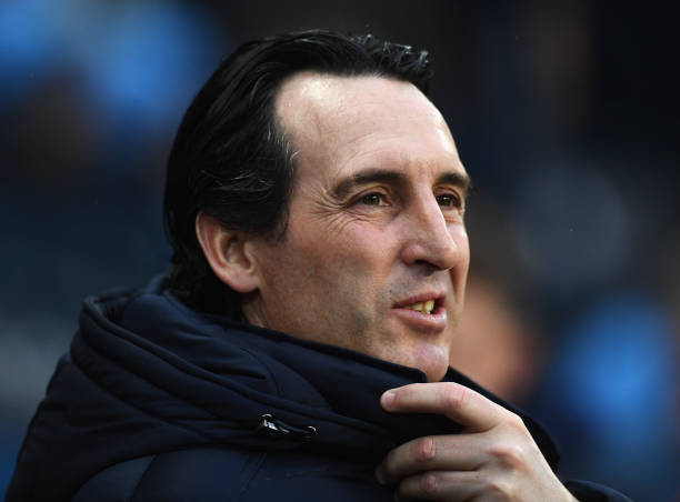 MANCHESTER, ENGLAND - FEBRUARY 03: Unai Emery, Manager of Arsenal looks on prior to the Premier League match between Manchester City and Arsenal FC at Etihad Stadium on February 3, 2019 in Manchester, United Kingdom. (Photo by Clive Mason/Getty Images)