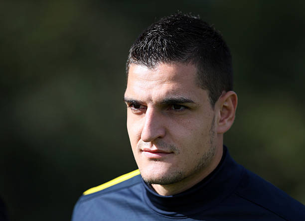 ST ALBANS, ENGLAND - SEPTEMBER 17: Vito Mannone of Arsenal during a training session at London Colney on September 17, 2012 in St Albans, England. (Photo by Julian Finney/Getty Images)