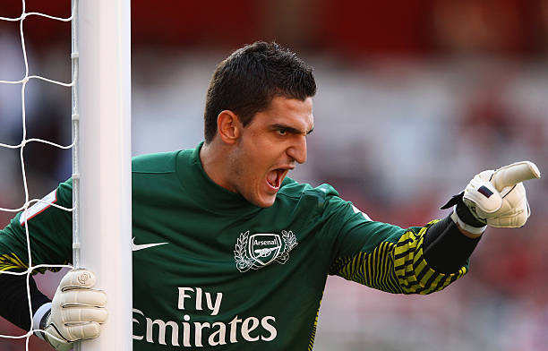 LONDON, ENGLAND - JULY 30: Vito Mannone of Arsenal directs his defence during the Emirates Cup match between Arsenal and Boca Juniors at the Emirates Stadium on July 30, 2011 in London, England. (Photo by Richard Heathcote/Getty Images)