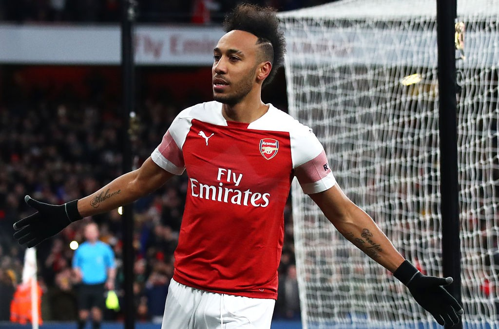 LONDON, ENGLAND - MARCH 10: Pierre-Emerick Aubameyang of Arsenal celebrates after scoring his team's second goal during the Premier League match between Arsenal FC and Manchester United at Emirates Stadium on March 10, 2019, in London, United Kingdom. (Photo by Julian Finney/Getty Images)