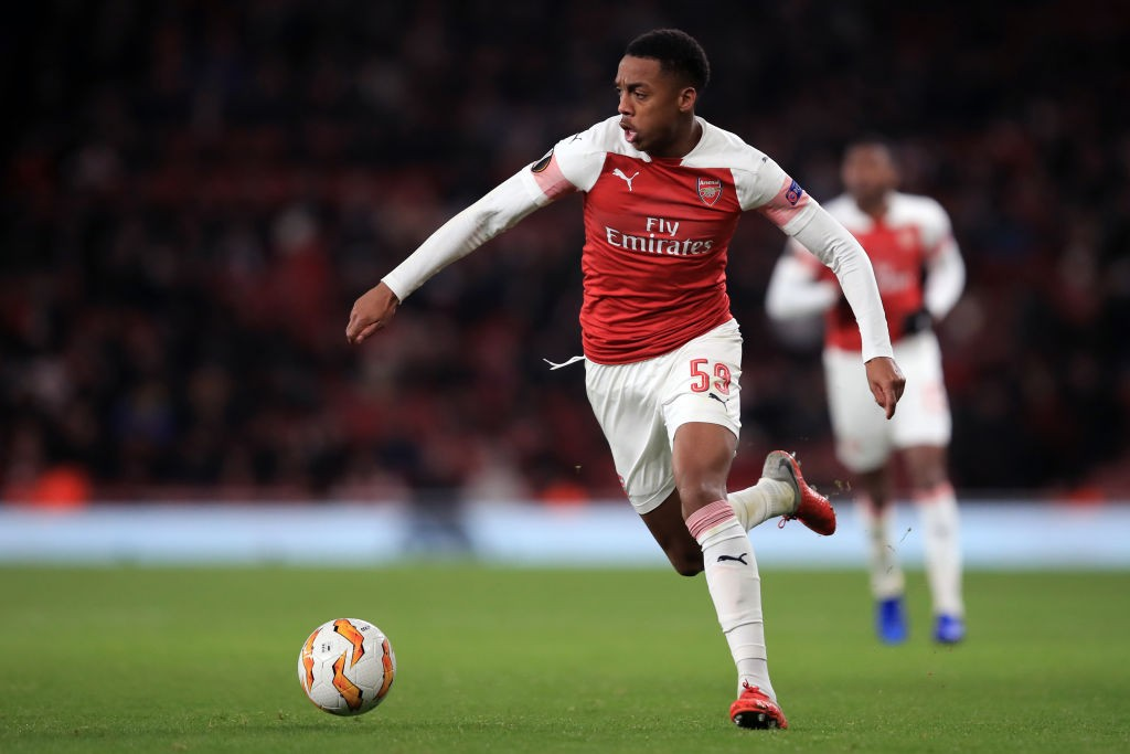 LONDON, ENGLAND - DECEMBER 13: Joe Willock of Arsenal during the UEFA Europa League Group E match between Arsenal and Qarabag FK at Emirates Stadium on December 13, 2018 in London, United Kingdom. (Photo by Marc Atkins/Getty Images)