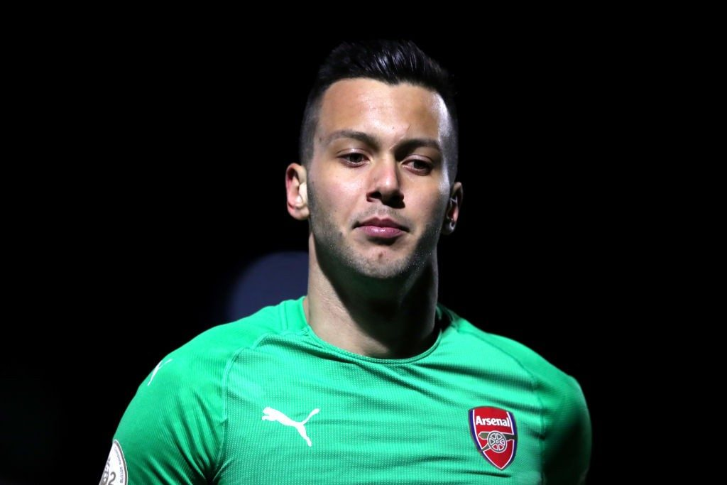 BOREHAMWOOD, ENGLAND - MARCH 04: Deyan Iliev of Arsenal during the Premier League 2 match between Arsenal and Swansea at Meadow Park on March 04, 2019 in Borehamwood, England. (Photo by Alex Pantling/Getty Images)
