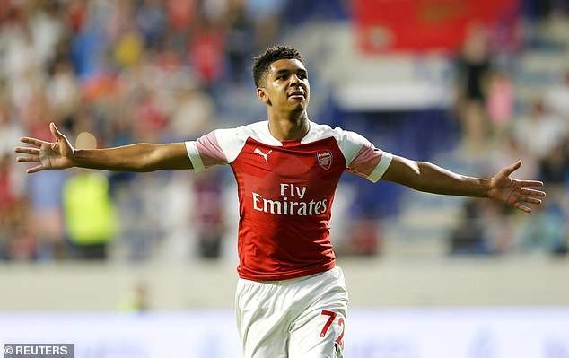 Tyreece John-Jules after scoring his first Arsenal goal (Photo via Daily Mail)
