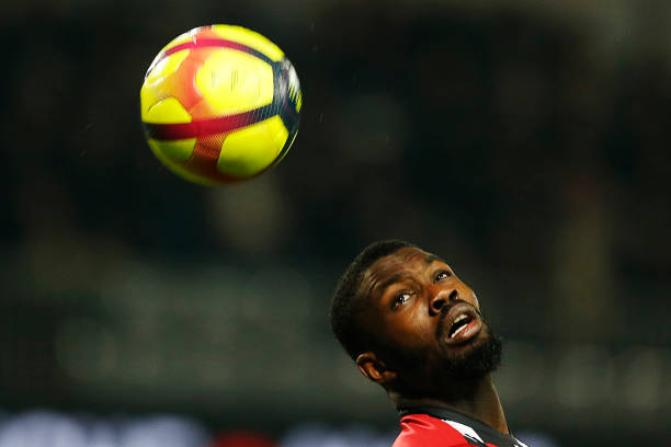 Guingamp's French forward Marcus Thuram heads the ball during the French L1 football match between Guingamp (EAG) and Angers (SCO) at The Roudourou Stadium in Guingamp, north-western France on February 23, 2019. (Photo by CHARLY TRIBALLEAU / AFP)