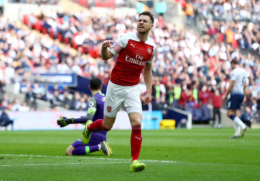 LONDON, ENGLAND - MARCH 02: Aaron Ramsey of Arsenal celebrates after scoring his team's first goal during the Premier League match between Tottenham Hotspur and Arsenal FC at Wembley Stadium on March 02, 2019 in London, United Kingdom. (Photo by Clive Rose/Getty Images)