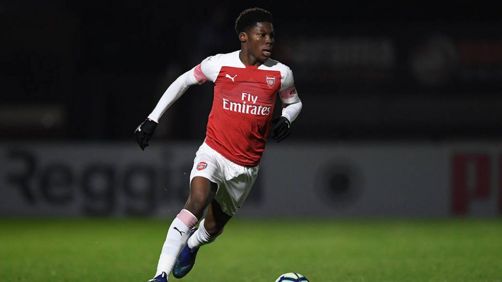 BOREHAMWOOD, ENGLAND - DECEMBER 12: Yunus Musah of Arsenal during the match between Arsenal U18 and Northampton Town U18 at Meadow Park on December 12, 2018 in Borehamwood, England. (Photo by David Price/Arsenal FC via Getty Images)