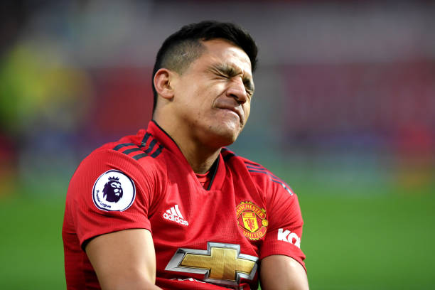 Manchester United confirm deal agreed Alexis: MANCHESTER, ENGLAND - MARCH 02: Alexis Sanchez of Manchester United reacts with an injury during the Premier League match between Manchester United and Southampton FC at Old Trafford on March 02, 2019 in Manchester, United Kingdom. (Photo by Shaun Botterill/Getty Images)