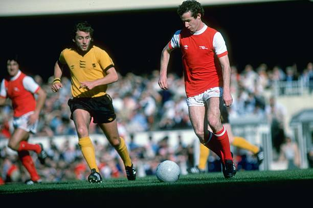 Oct 1979: Liam Brady of Arsenal in action during a Football League Division One match against Wolverhampton Wanderers at the Molineux Grounds in Wolverhampton, England. Mandatory Credit: Allsport UK /Allsport