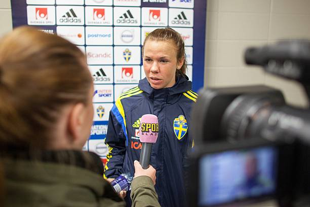 Sweden's Jessica Samuelsson speaks to the media during a press event at the FIFA Women's World Cup in Edmonton, Canada on June 14, 2015.   AFP PHOTO/GEOFF ROBINS