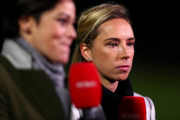BOREHAMWOOD, ENGLAND - FEBRUARY 07: Jordan Nobbs presents on BT Sport during the FA WSL Cup match between Arsenal Women and Manchester United Women at Meadow Park on February 07, 2019 in Borehamwood, England. (Photo by Naomi Baker/Getty Images)