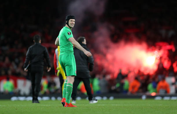 LONDON, ENGLAND - MARCH 14: Petr Cech of Arsenal celebrates at full-time of the UEFA Europa League Round of 16 Second Leg match between Arsenal and Stade Rennais at Emirates Stadium on March 14, 2019 in London, England. (Photo by Alex Morton/Getty Images)