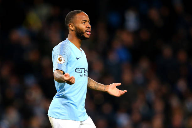 MANCHESTER, ENGLAND - MARCH 09: Raheem Sterling of Manchester City reacts during the Premier League match between Manchester City and Watford FC at Etihad Stadium on March 09, 2019 in Manchester, United Kingdom. (Photo by Alex Livesey/Getty Images)