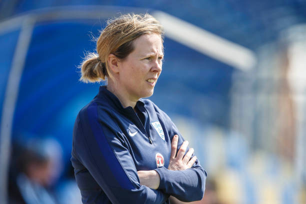 DUNAJSKA LUZNA, SLOVAKIA - APRIL 09: Headcoach Rehanne Skinner of England is seen on the touchline during the UEFA Women's Under19 Elite Round match between England and Germany on April 9, 2018 in Dunajska Luzna, Slovakia. (Photo by Christian Hofer/Bongarts/Getty Images)