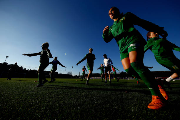 KINGSTON UPON THAMES, ENGLAND - NOVEMBER 18: Yeovil Town Ladies FC warm-up prior to the FA WSL match between Chelsea Women and Yeovil Town FC at The Cherry Red Records Stadium on November 18, 2018 in Kingston upon Thames, England. (Photo by Jordan Mansfield/Getty Images)