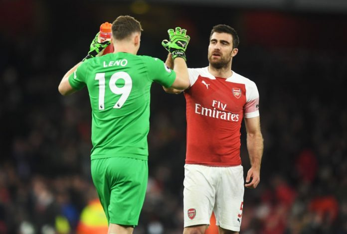 LONDON, ENGLAND - APRIL 01: Sokratis Papastathopoulos and Bernd Leno celebrate victory after the the Premier League match between Arsenal FC and Newcastle United at Emirates Stadium on April 01, 2019 in London, United Kingdom. (Photo by Michael Regan/Getty Images)
