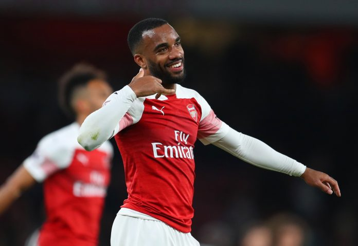LONDON, ENGLAND - APRIL 01: Alexandre Lacazette of Arsenal celebrates victory after the Premier League match between Arsenal FC and Newcastle United at Emirates Stadium on April 01, 2019 in London, United Kingdom. (Photo by Catherine Ivill/Getty Images)