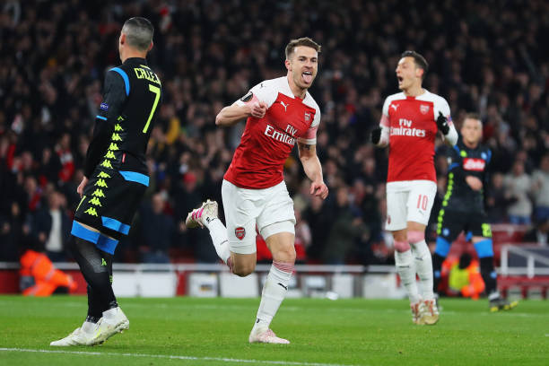 LONDON, ENGLAND - APRIL 11: Aaron Ramsey of Arsenal celebrates scoring his teams first goal of the game during the UEFA Europa League Quarter Final First Leg match between Arsenal and S.S.C. Napoli at Emirates Stadium on April 11, 2019 in London, England. (Photo by Catherine Ivill/Getty Images)