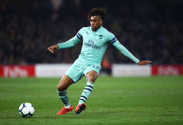 WATFORD, ENGLAND - APRIL 15: Alex Iwobi of Arsenal in action during the Premier League match between Watford FC and Arsenal FC at Vicarage Road on April 15, 2019 in Watford, United Kingdom. (Photo by Julian Finney/Getty Images)
