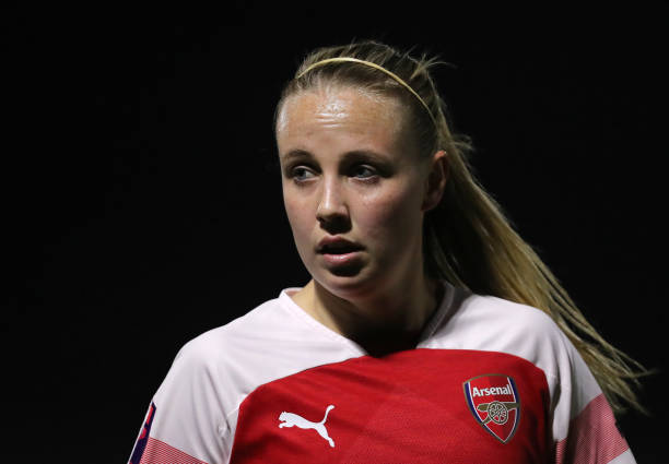 BOREHAMWOOD, ENGLAND - MARCH 14: Beth Mead of Arsenal looks on during the The Football Association Women's Super League match between Arsenal Women and Bristol City Women at Meadow Park on March 14, 2019 in Borehamwood, England. (Photo by James Chance/Getty Images)