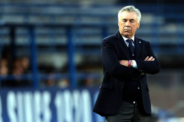 EMPOLI, ITALY - APRIL 03: Carlo Ancelotti manager of SSC Napoli reacts during the Serie A match between Empoli and SSC Napoli at Stadio Carlo Castellani on April 3, 2019 in Empoli, Italy. (Photo by Gabriele Maltinti/Getty Images)