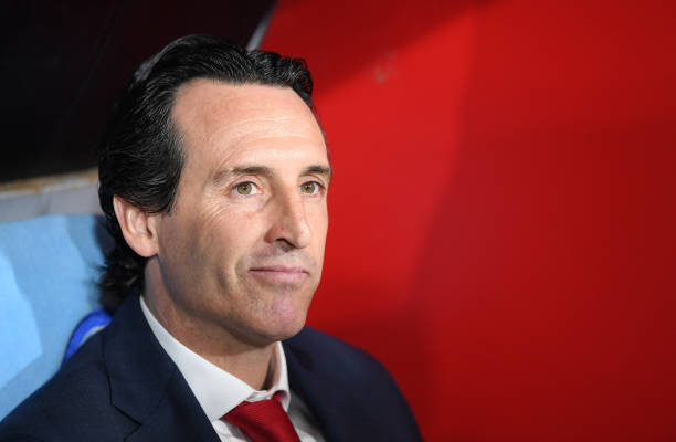 NAPLES, ITALY - APRIL 18: Unai Emery, manager of Arsenal looks on during the UEFA Europa League Quarter Final Second Leg match between S.S.C. Napoli and Arsenal at Stadio San Paolo on April 18, 2019 in Naples, Italy. (Photo by Stuart Franklin/Getty Images)