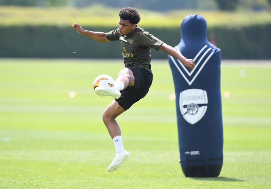ST ALBANS, ENGLAND - MAY 16: Xavier Amaechi of Arsenal during a training session at London Colney on May 16, 2019, in St Albans, England. (Photo by Stuart MacFarlane/Arsenal FC via Getty Images)