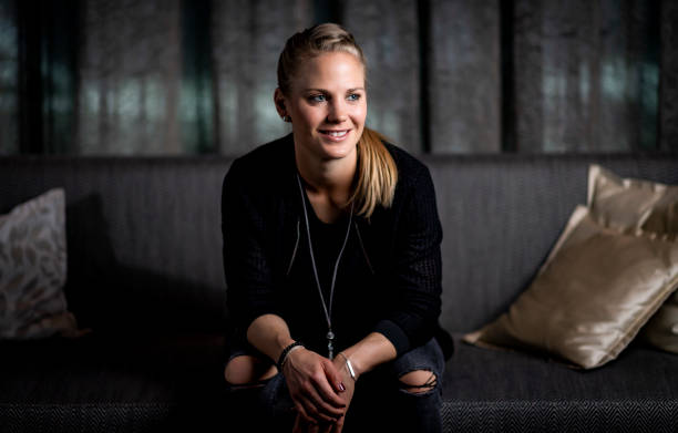 MUNICH, GERMANY - MARCH 04: (EXCLUSIVE COVERAGE) Leonie Maier poses during the DFB Women's private portrait session on March 04, 2019 in Munich, Germany. (Photo by Alexander Scheuber/Getty Images for DFB)
