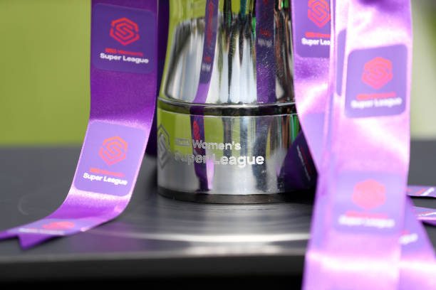 BOREHAMWOOD, ENGLAND - MAY 11: The FA WSL Trophy is seen ahead of the WSL match between Arsenal Women and Manchester City Women at Meadow Park on May 11, 2019 in Borehamwood, England. (Photo by Catherine Ivill/Getty Images)