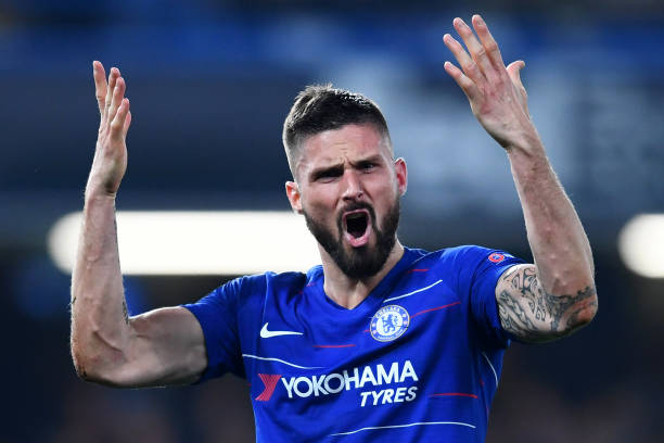 LONDON, ENGLAND - MAY 09: Olivier Giroud of Chelsea reacts during the UEFA Europa League Semi Final Second Leg match between Chelsea and Eintracht Frankfurt at Stamford Bridge on May 09, 2019 in London, England. (Photo by Clive Mason/Getty Images)