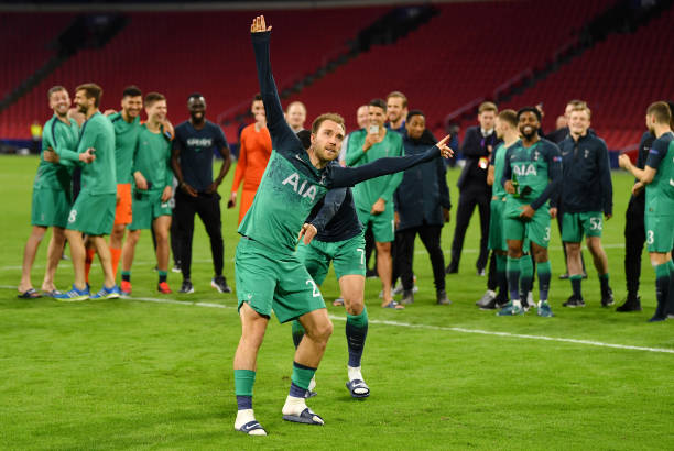 AMSTERDAM, NETHERLANDS - MAY 08: Christian Eriksen of Tottenham Hotspur celebrates victory after the UEFA Champions League Semi Final second leg match between Ajax and Tottenham Hotspur at the Johan Cruyff Arena on May 08, 2019 in Amsterdam, Netherlands. (Photo by Dan Mullan/Getty Images )