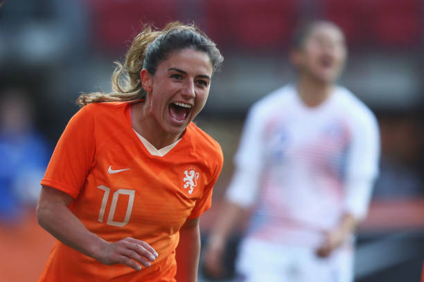 ALKMAAR, NETHERLANDS - APRIL 09: Danielle van de Donk of Netherlands celebrates scoring her teams third goal of the game and her 2nd during the International Friendly Women's match between Netherlands and Chile at AFAS-Stadium on April 09, 2019 in Alkmaar, Netherlands. (Photo by Dean Mouhtaropoulos/Getty Images)