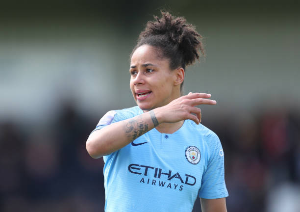 BOREHAMWOOD, ENGLAND - MAY 11:  Demi Stokes of Manchester City  during the WSL match between Arsenal Women and Manchester City at Meadow Park on May 11, 2019 in Borehamwood, England. (Photo by Catherine Ivill/Getty Images)