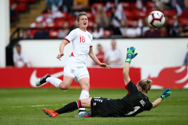 WALSALL, ENGLAND - MAY 25:  Ellen White of England shoots on goal during the International Friendly between England Women and Denmark Women at Bank's Stadium on May 25, 2019 in Walsall, England. (Photo by Jan Kruger/Getty Images)