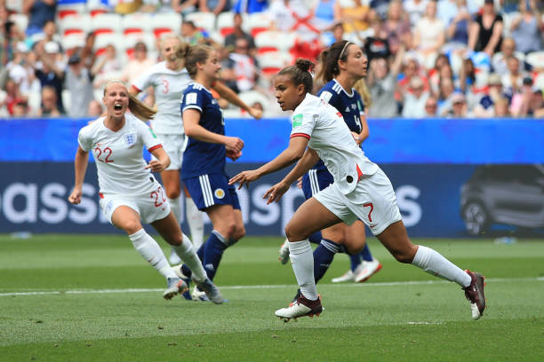 NICE, FRANCE - JUNE 09: Nikita Parris of England celebrates scoring a goal during the 2019 FIFA Women's World Cup France group D match between England and Scotland at Stade de Nice on June 9, 2019 in Nice, France. (Photo by Marc Atkins/Getty Images)