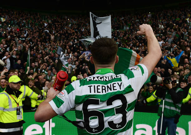GLASGOW, SCOTLAND - MAY 19: Kieran Tierney of Celtic celebrate with the Celtic fans during the Ladbrokes Scottish Premiership match between Celtic FC and Heart of Midlothian FC at Celtic Park on May 19, 2019 in Glasgow, Scotland. (Photo by Mark Runnacles/Getty Images)