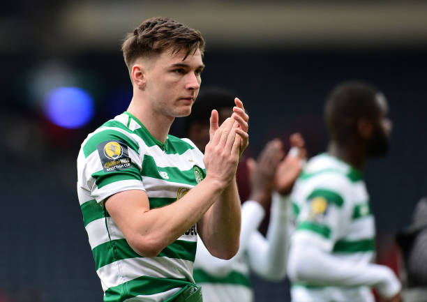 GLASGOW, SCOTLAND - APRIL 14: Kieran Tierney of Celtic applauds the fans at the final whistle during the Scottish Cup Semi Final between Aberdeen and Celtic at Hampden Park on April 14, 2019 in Glasgow, Scotland. (Photo by Mark Runnacles/Getty Images)