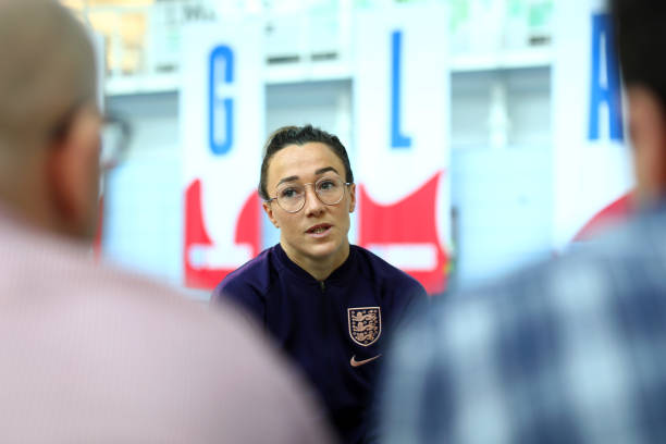 BURTON-UPON-TRENT, ENGLAND - MAY 23: Lucy Bronze of England speaks to media ahead of a training session at St Georges Park on May 23, 2019 in Burton-upon-Trent, England. (Photo by Matthew Lewis/Getty Images)