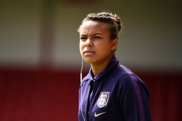 WALSALL, ENGLAND - MAY 25:   Nikita Parris of England looks on prior to the International Friendly between England Women and Denmark Women at Bank's Stadium on May 25, 2019 in Walsall, England. (Photo by Nathan Stirk/Getty Images)