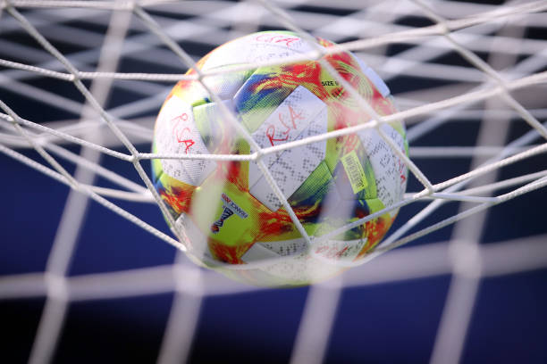 LE HAVRE, FRANCE - JUNE 08: The official adidas match ball is seen on the net of the goal prior to the 2019 FIFA Women's World Cup France group B match between Spain and South Africa at on June 08, 2019 in Le Havre, France. (Photo by Alex Grimm/Getty Images)