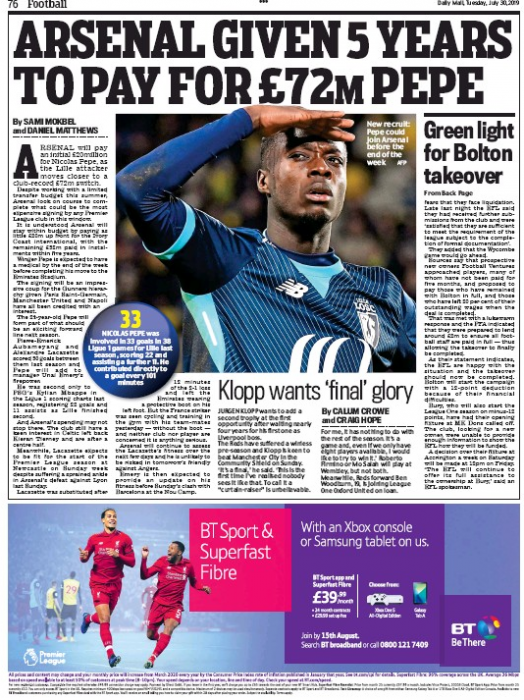 Arsenal given five years to pay for Pepe Daily Mail 30 July 2019