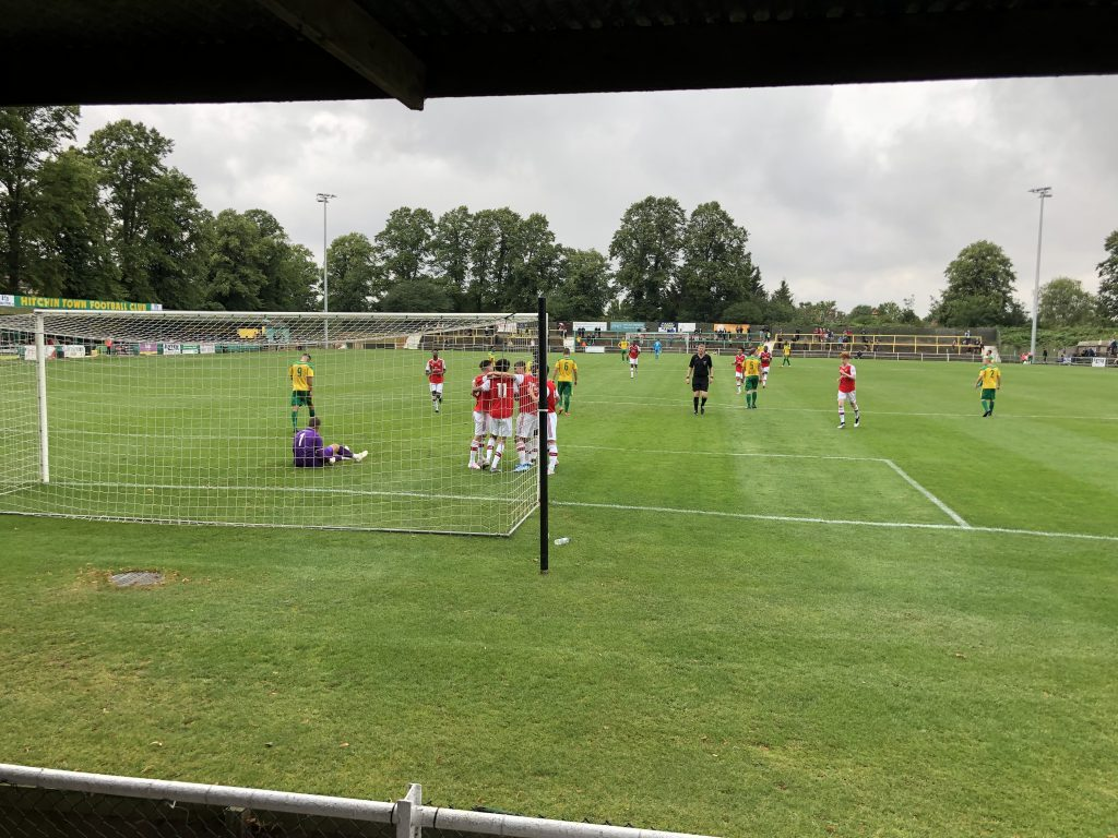 The Arsenal u18s celebrate Matthew Dennis' goal against Hitchin Town