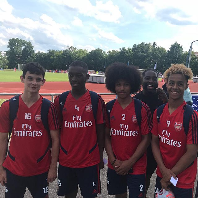 Charlie Patino, Khayon Edwards, Mauro Bandeira, and Omari Hutchinson at the u17 Bundesliga Cup (Photo via Instagram / OmariHutchinson10)