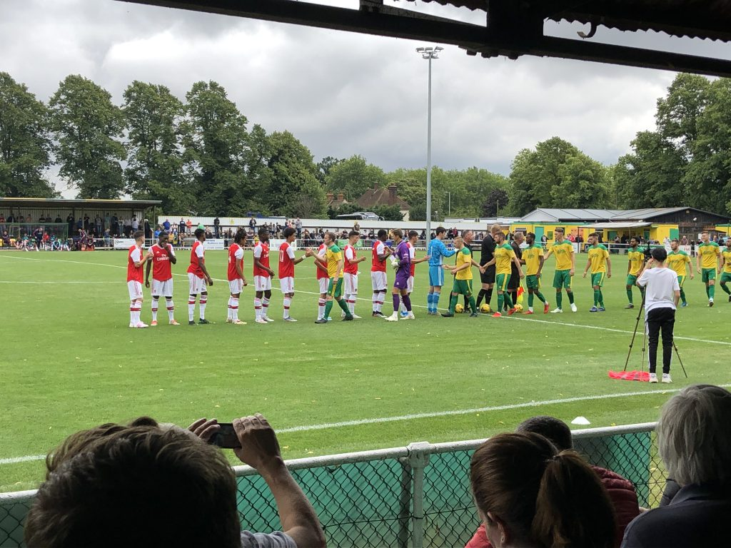 Arsenal u18s lining up against Hitchin Town