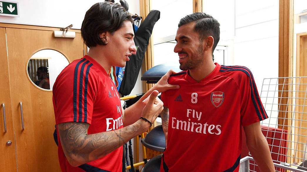 Hector Bellerin and Dani Ceballos (Photo by David Price/Arsenal FC via Getty Images)
