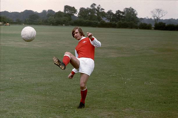circa 1970: Arsenal footballer Eddie Kelly in action during a training session. (Photo by Express/Express/Getty Images)