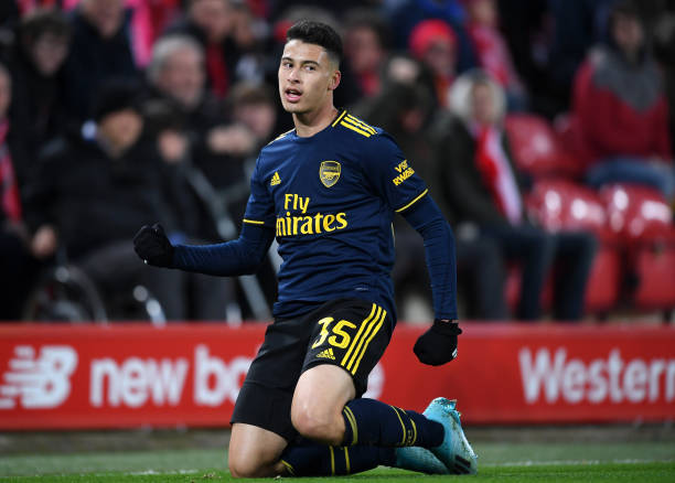 LIVERPOOL, ENGLAND - OCTOBER 30: Gabriel Martinelli of Arsenal celebrates after scoring his team's second goal during the Carabao Cup Round of 16 match between Liverpool and Arsenal at Anfield on October 30, 2019 in Liverpool, England. (Photo by Laurence Griffiths/Getty Images)