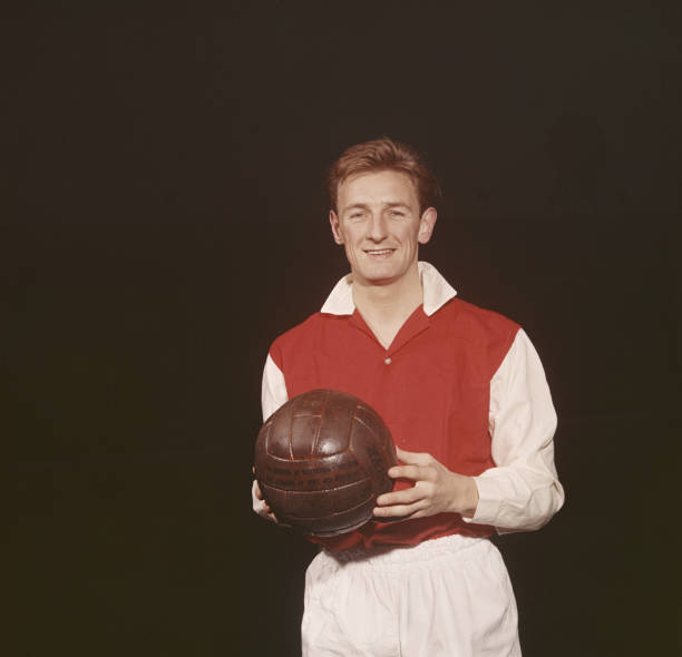 George Eastham of Arsenal FC poses for a portrait on 1st December 1960 at the Arsenal Stadium in Highbury, London, Great Britain. (Photo by Don Morley/Getty Images)